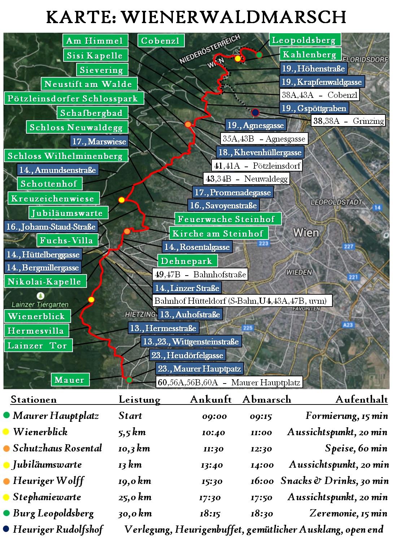 Marschroute 3. Wienerwaldmarsch